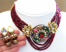 Unique and Custom Curated Hand Made Necklace & Earrings Set  RT-159