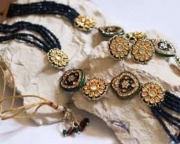 Unique and Custom Curated Hand Made Necklace & Earrings Set  RT-161