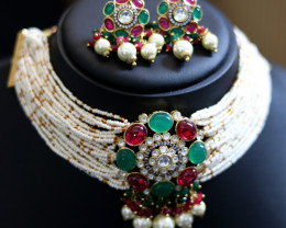 Unique and Custom Curated Hand Made Necklace & Earrings Set  RT-163