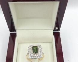Classic Double Halo Ceylon Green Sapphire,cluster diamond 9K gold Ring