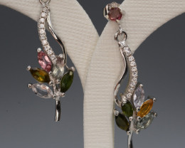 Multi-Color Natural Tourmaline 15.28 Cts and CZ Silver Earring