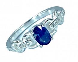 0.86ct.Elegant Natural Blue  Sapphire Gemstone Silver925 Ring.DBS326