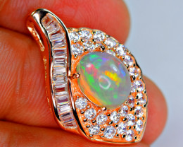 Natural AAA Very Brilliant Fire Opal , CZ 925 Silver Amazing Pendant