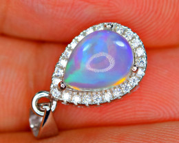 Natural AAA Very Top Fire Opal , CZ 925 Rose Gold Plating Silver Amazing Pe