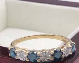 Classic half hoop Ceylon sapphire,cluster white diamond 9K gold Band Ring