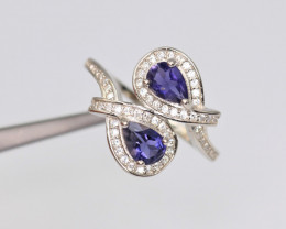 Fabulous Natural Iolite, CZ & 925 Fancy Sterling Silver Ring
