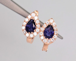 Attractive Natural Iolite, CZ & 925 Fancy Rose Gold Sterling Silver