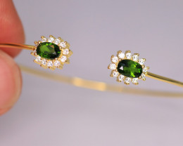 Gorgeous Natural Chrome Diopside, CZ & 925 Fancy Yellow Sterling Silver
