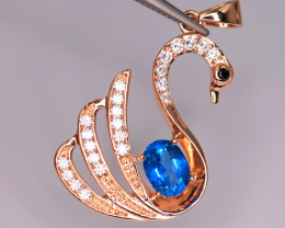 Gorgeous Natural Blue Topaz, CZ & 925 Fancy Rose Gold Sterling Silver