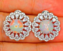 Natural AAA Top Fire Opal , CZ 925Silver Earrings