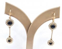 Elegant Art Deco Style 9k Gold Drop Onyx ,pearl Earrings for Women