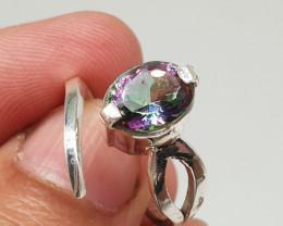 Mystic Quartz Ring 925 Silver 21.65 Carats