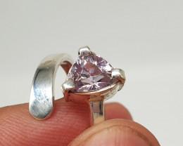 Natural Pink Kunzite 925 Silver Ring