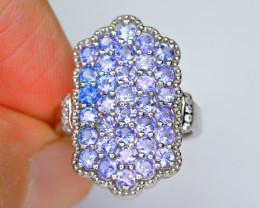 Natural New Design Plenty Tanzanite , CZ 925 Silver Brilliant Ring