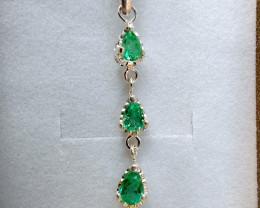 Colombian Chivor Emerald sterling silver pendant 13 ct