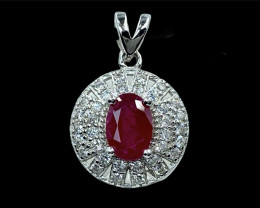 1.28ct.Fanciable Natural Ruby Gemstone.Silver925 Pendant.DRH350
