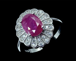 2.39ct.Aesthetic Natural Ruby Gemstone Silver925 Ring.DRH352