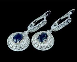 1.60ct.Gorgeous Natural Blue Sapphire Gemstone Silver925 Earring.DBS359