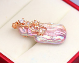 Pearl Natural Solid 925 Sterling Silver Pink Rose Gold Finish Pendant RM08