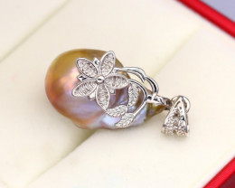 Pearl Natural Solid 925 Sterling Silver White Gold Finish Pendant RM23