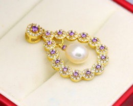 Pearl Natural Solid 925 Sterling Silver Yellow Gold Finish Pendant RM25