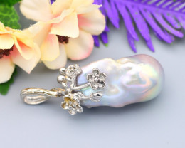 Pearl Natural Solid 925 Sterling Silver White Gold Finish Pendant RM26
