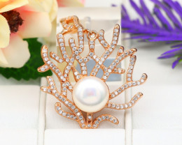 Pearl Natural Solid 925 Sterling Silver Pink Rose Gold Finish Pendant RM30