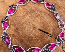 Glass Fill Ruby and Defuse Sapphire Bracelet