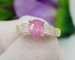 Natural Kashmir Sapphire 17.15 Carats 925 Silver Ring