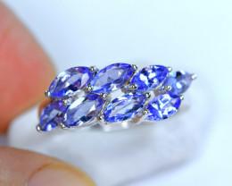 Natural 8Pis Tanzanite 925 Silver Nice Design Ring