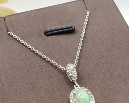 Natural  Multi Color play Opal~  925 Silver Necklace