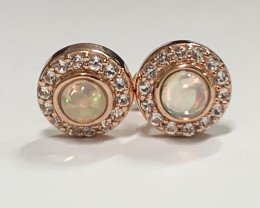 Stylish Natural Color play Opal Pink Gold plated,~ solid Silver Earring