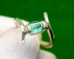 Natural Bluish Green Tourmaline Silver Ring