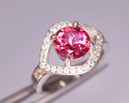 Gorgeous Natural Pink Topaz, CZ & 925 Fancy Sterling Silver
