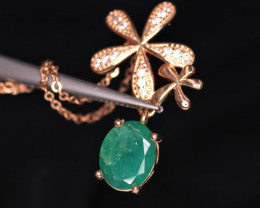 Gorgeous Natural Emerald, CZ & 925 Fancy Rose Gold Sterling Silver