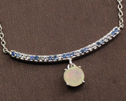 Natural  Rainbow  Opal, Blue Sapphire And Topaz ~ Silver Necklace