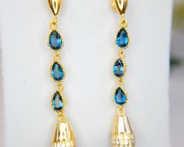Glod Plated Natural London Topaz Earrings