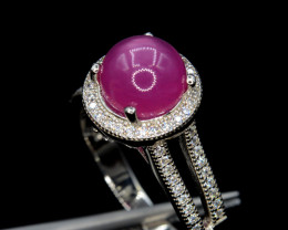 Beautiful  Natural Ruby (GF)& CZ, Silver Ring Gorgeous Design