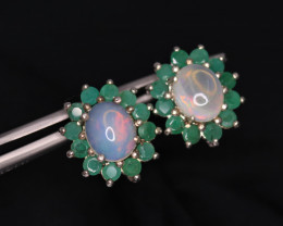 Fabulous Natural Fire Opal, Emerald & 925 Fancy Sterling Silver