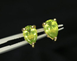 Attractive Natural Peridot & 925 Fancy Yellow Sterling Silver