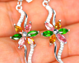 Natural Multi stones, CZ 925 Silver Amazing Earrings