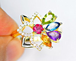 Natural 5 Pix mix color stone , CZ Amazing 925 Silver Ring