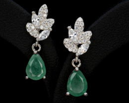 Beautiful Natural Emerald 11.47 Cts, CZ Silver Earrings