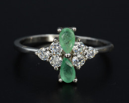 Beautiful Natural Emerald 10.92 Cts CZ and Silver Ring