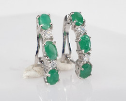 Natural Emerald and CZ Earrings