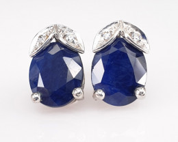 Natural Sapphire and CZ Earrings