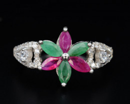 Natural Emerald and Ruby, CZ,  Silver Ring Beautiful Design