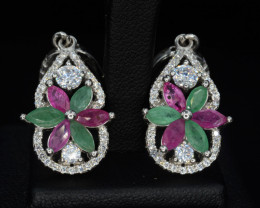 AAA Beautiful Natural Emerald and Ruby, CZ  Silver Earrings