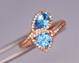 Gorgeous Natural Swiss Topaz, CZ & 925 Fancy Rose Gold Sterling Silver
