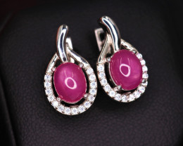 Attractive Natural Ruby, CZ & 925 Fancy Sterling Silver